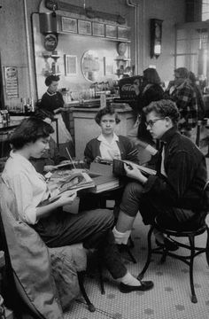 Teenagers drinking sodas at a drugstore in Kentucky, 1957.