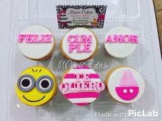 Pink cupcakes / minion/ Feliz cumple amor