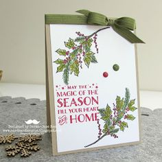 Sarah-Jane Rae cardsandacuppa: Stampin' Up! UK Order Online 24/7: New Peaceful Wreath and Cozy Christmas Stamps by Stampin' Up! to make a Holly Branch Christmas Card.