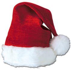 363d0bd755f Amazon.com  Velvet Santa Hat w Plush Trim Party Accessory (1 count. Santa  Claus HatChristmas ...