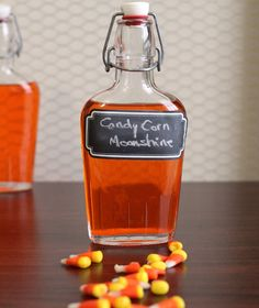 Candy Corn Moonshine infusion, also works with vodka or Bacardi light rum http://mixthatdrink.com/candy-corn-moonshine/