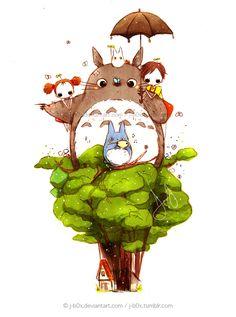 Image about anime in Studio Ghibli( ^ω^ ) by ハーリ Studio Ghibli Art, Studio Ghibli Movies, Hayao Miyazaki, Miyazaki Tattoo, Chibi, Manga Anime, Anime Art, Fan Art, My Neighbor Totoro