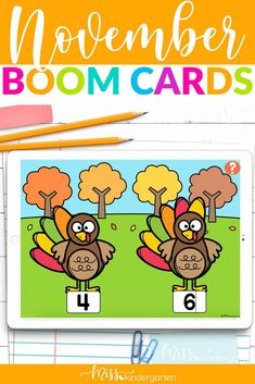 Use these interactive boom cards in your kindergarten classroom this fall. Great for November and Thanksgiving. Practice CVC words and letter sounds, counting and more. Self checking and easy to assign and use. Use as assessment tool. Number Sense Activities, Hands On Activities, Miss Kindergarten, Kindergarten Classroom, Teaching Credential, Fall Images, English Language Learners, Ten Frames, Cvc Words