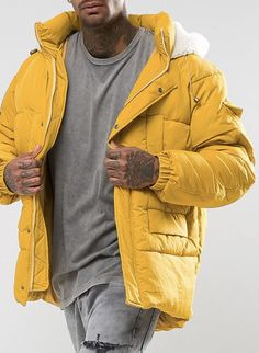 The New County Oversized Puffer Jacket In Yellow from ASOS (men, style, fashion, clothing, shopping, recommendations, stylish, menswear, male, streetstyle, inspo,  outfit, fall, winter, spring, summer, personal)