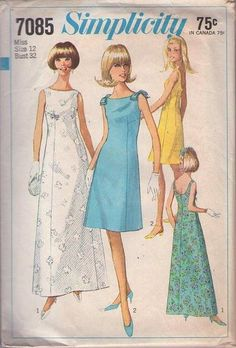MOMSPatterns Vintage Sewing Patterns - Simplicity 7085 Vintage 60's Sewing Pattern Mod GODDESS Summer Beach Wedding, Cruise Maxi Gown, Scoop...