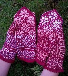 Photo Fingerless Mittens, Knit Mittens, Knitted Gloves, Knitting Socks, Knit Socks, Knitting Charts, Knitting Patterns, Knitting Ideas, Fair Isle Pattern