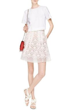 Embroidered Skirt with Daisy Belt by Giamba - Moda Operandi