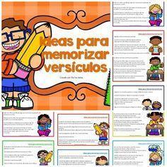 ideas para memorizar versículos, versículos bíblicos, infantil, escuela dominical, lección bíblica, prescolares, primarios, párvulos, escuela bíblica