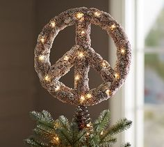 Lit Outdoor Peace Sign Tree Topper #potterybarn