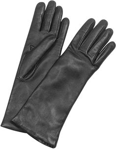 Please click on the picture to go to the detail page. Forzieri Women's Cashmere Lined Black Italian Leather Long Gloves