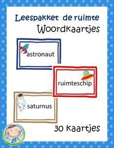 Thema de ruimte – Leuke woordkaartjes. Veel tips hoe je deze woordrijtjes kunt inzetten.