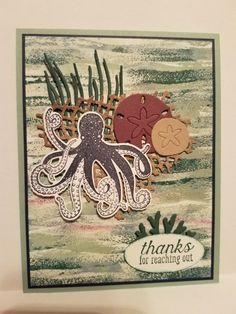 stampin up sea of textures card ideas Octopus Card, Sea Texture, Nautical Cards, Beach Cards, Scrapbook Cards, Scrapbooking, Card Making Inspiration, Pretty Cards, Card Sketches