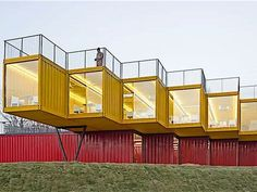 Shipping container pavilion lets it all hang out