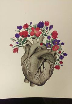 Anatomical heart with flowers print.