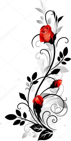 Ornament with roses – kaufen Sie dieses stock-vektorgrafik auf Shutterstock un… Ornament with roses – Buy this stock vector artwork on Shutterstock and look for more pictures. Rose Illustration, Art Floral, Fabric Painting, Flower Tattoos, Rose Vine Tattoos, Body Art Tattoos, Tattoo Arm, Tattoo Ribs, Painted Rocks
