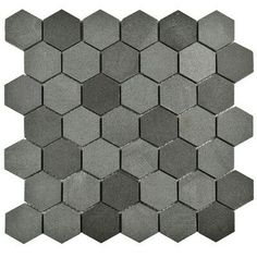 EliteTile Formation Hex Volcanic Stone Mosaic Tile in Black