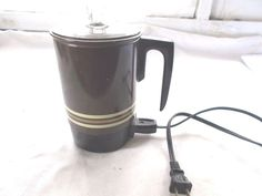 Vintage Electric Coffee Maker Hot Pot Tea 1970's? 4 Cup Percolator Brown