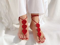 Red Heart Burgundy Barefoot Sandals Valentine's day by Lasunka, €10.00