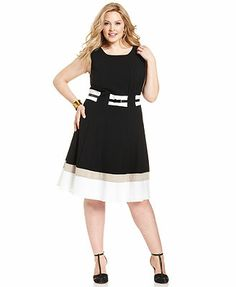 Calvin Klein Plus Size Dress, Sleeveless Colorblocked Belted A-Line