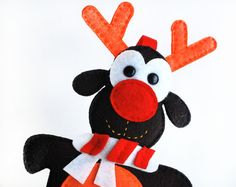 Felt Reindeer Ornament,  Winter Christmas Ornament, Hand stitched reindeer  A212