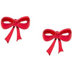 Holiday Metallic Red Bow Front and Back Stud Earrings ($5) ❤ liked on Polyvore featuring jewelry, earrings, evening earrings, metal jewelry, metal earrings, bow earrings and metal stud earrings