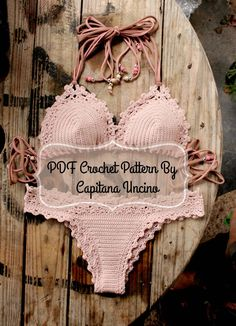 PDF, Crochet PATTERN for Lorelei Crochet Bikini Top and Brazilian Bottom, Cheeky, scrunch butt, Sizes XS-L