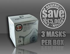 BOX OF 3 MASKS; Respro® S3V N99, StreetSmart™ Pollution mask | Retailing at less than 20 US$, this mask is certified to the European Standard (EN149-FFP3). It offers the highest level of protection for Heath and Safety at work.