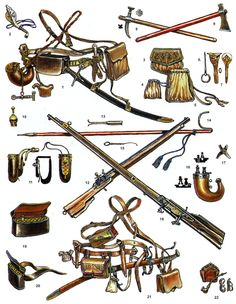 Ukrainian army XVII century:  1. Equipment foot cossack. 2. The key for cocking the wheel lock.3. Purse.4. Bag for bullets.5. Bag for everyday small things.6. Single-lip fork.7. Spoon with cover.8. Chekan.9. Ax.10. Natruska.11. Powder flask.12. Bandalier.13. Attachment to the cleaning rod to unload the gun.14. Bipod (fornet).15. Wire brushing ignition hole.16. Horn powder flask.17. Mold for bullets.18. Harquebus.19-20. Cartouche.21. Equipment Cossack horsemen.22. Smoking pipe