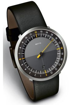 Botta UNO 24 watch - the entire day at a glance. During the course of each 24-hour period, the single hand of this watch completes just one full rotation.