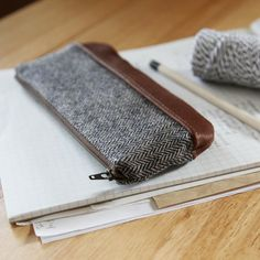 Pencil Pouch in Herringbone Wool and Leather // Zipper by infusion, $30.00