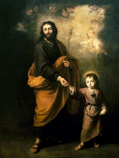 Prayer to St. Joseph, Patron of workers, for employment: Dear St. Joseph, you were once faced with the responsibillity of providing the necessities of life for Jesus and Mary. Look down with fatherly compassion upon me in my anxiety with my present inability to support my family....(Painting:  St Joseph and the Child Jesus by Bartolome Esteban Murillo)