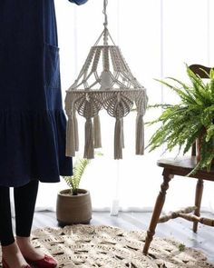 Handmade lamp shade, bohemian decor diy decorations indoor Your place to buy and sell all things handmade Handmade Chandelier, Handmade Lamps, Rustic Chandelier, Chandelier Bedroom, Lantern Chandelier, Chandelier Lighting, Macrame Art, Macrame Projects, Macrame Knots