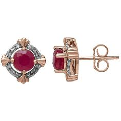 Lord & Taylor 14K Rose Gold Natural Ruby and Diamond Earrings ($750) ❤ liked on Polyvore featuring jewelry, earrings, ruby diamond earrings, 14k diamond earrings, ruby earrings, diamond accent jewelry and earrings jewelry