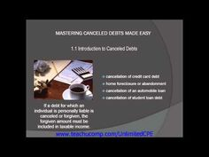Get unlimited CPE at http://www.teachucomp.com/unlimitedCPE. A clip from Canceld Debts-CPE Edition: Introduction to Canceled Debts.