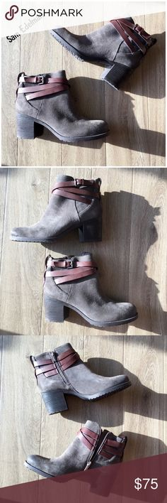 """NWOB Sam Edelman Hannah gray suede ankle bootie 9 NWOB Sam Edelman Hannah suede ankle boots  🐾 New without box 🐾 Steel grey 🐾 Suede leather upper 🐾 Decorative strap with buckle around ankle 🐾 Distressed oiled toe 🐾 Synthetic lining 🐾 Stacked chunky heels 🐾 Cushioned leather footbed 🐾 Heel height (approx.): 2 1/2"""" 🐾 Length size 9 (approx.): 10.2"""" 🐾 Made in USA  🐾 Bundle discount 🐾 No trades, no PP 🐾 Smoke free, pet friendly home Sam Edelman Shoes Ankle Boots & Booties"""