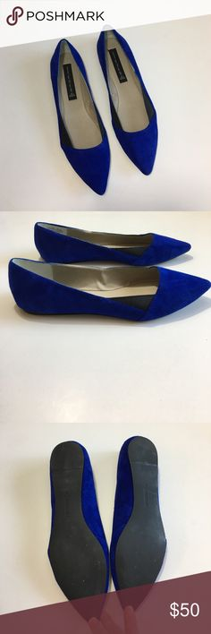 STEVEN By Steve Madden blue suede flats STEVEN By Steve Madden blue suede flats. Size 8. Excellent, barely worn condition. Black inset details on the sides. Pointy toe. Flat heel. Rubber outsole for traction. A couple small marks on right toe, practically unnoticeable (pictured). Super cute with just about anything! Steven by Steve Madden Shoes Flats & Loafers