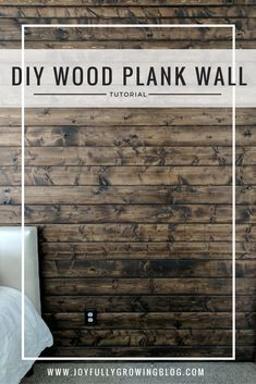 This DIY wood accent wall tutorial is genius! Definitely read this if you are wanting to add a rustic wood wall to your bedroom! | How to Build A DIY Wood Plank Wall | wood wall, DIY wood wall, tongue and groove wood wall, shiplap wall, rustic wood wall l  #joyfullygrowingblog #woodwall #accentwall #DIYwoodwall