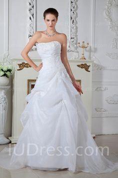 charming court train organza satin strapless wedding dresses 2014 list price 74000 price 20949