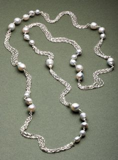 Kara Ross New York South Sea Pearl necklace on sterling silver chain.