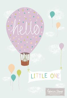 Hello Little One Art Print is a print of an original illustration created by Rebecca Stoner. Featuring a cute little bunny floating up