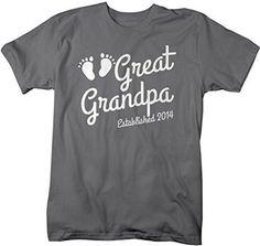 f10a804d0 Shirts By Sarah Men's Great Grandpa Established 2014 T-Shirt Baby Feet Cute  Shirts