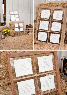 window pane seating chart idea #weddingreception #seatingchart #weddingchicks http://www.weddingchicks.com/2014/02/07/red-and-orange-fall-wedding/