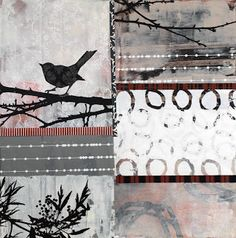 mixed media by Anna Flores Mixed Media Collage, Collage Art, Art Collages, Muse Kunst, Muse Art, Painting Lessons, Bird Art, Textile Art, Anna