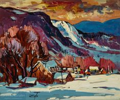 """""""La Malbaie"""" by Bruno Cote. Oil on masonite x Canadian Painters, Canadian Artists, Malbaie, Bayeux Tapestry, Art Toronto, Bruno, Winter Art, Impressionism, Art Prints"""