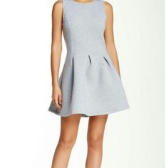 """ROMEO & JULIET COUTURE"" BRAND NWT! SIZE L CUTE!! Zip pleated spandex fit-flare grey dress. Crew neck, sleeveless, back zip closure, pleated detail. Approx. 33"" length. 95% polyester, 5% spandex. Heavy material excellent quality. Hand wash cold. Size L. True to size. Romeo & Juliet Couture Dresses Mini"