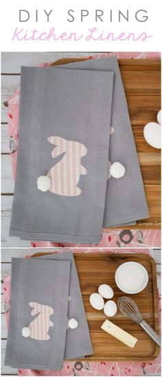 Easy DIY Spring Bunny Dish Towels |Simple Simon & Co.