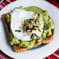 Smashed Avocado Miso Toast with Poached Egg and Furikake