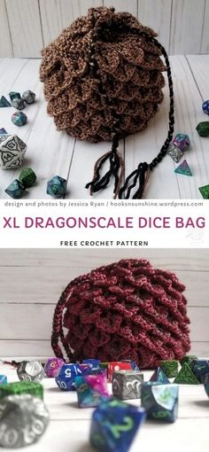 dragon scale crochet dice bag Crochet Dragon Pattern, Crochet Gloves Pattern, Lace Knitting Patterns, Easy Crochet Patterns, Free Crochet, Bag Patterns, Crochet Monsters, Bag Pattern Free, Dragon Crafts