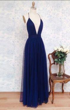 Charming Deep V Neck Sleeveless Tulle Prom Dresses,Simple