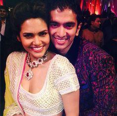 Nov, 2013: Esha Gupta with her brother at latter's wedding in Delhi